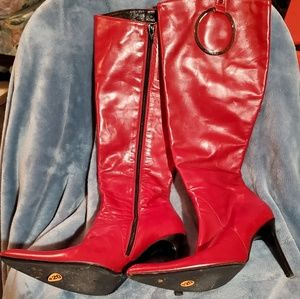Aldo Red Leather Knee High Boots